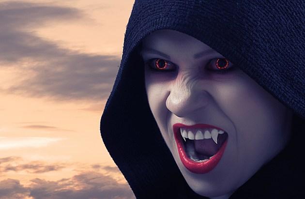 angry female vampire at sunset