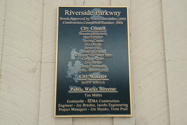 Riverside Parkway Dedicdation Plaque