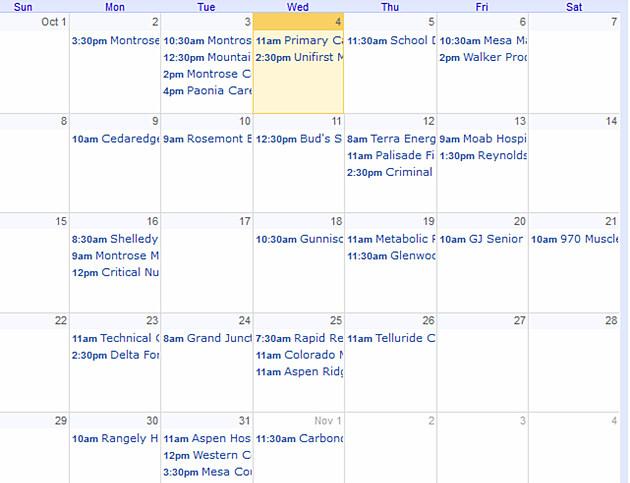 Bloodmobile October Schedule